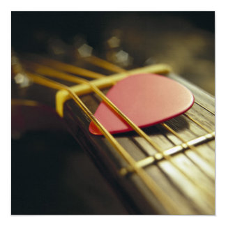 Guitar Pick Tucked in Strings Personalized Announcement