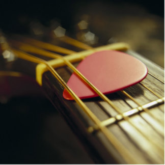 Guitar Pick Tucked in Strings Statuette