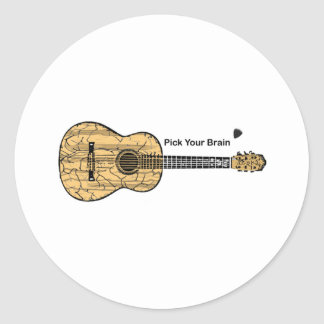 Guitar: Pick Your Brain Classic Round Sticker