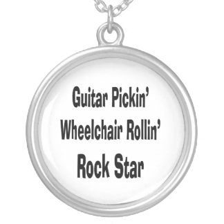 guitar picking wheelchair rolling rockstar bk silver plated necklace