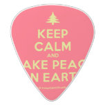 [Xmas tree] keep calm and make peace on earth  Guitar Picks White Delrin Guitar Pick