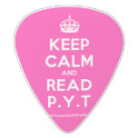 [Crown] keep calm and read p.y.t  Guitar Picks White Delrin Guitar Pick