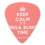 [Crown] keep calm it's bunga bunga time  Guitar Picks White Delrin Guitar Pick