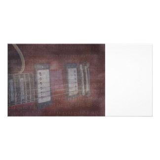 Guitar pickups grunged music faded photo greeting card