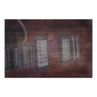 Guitar pickups grunged music faded poster