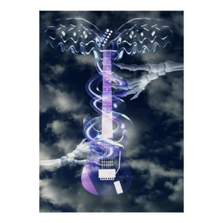 Guitar played by skeleton hands posters