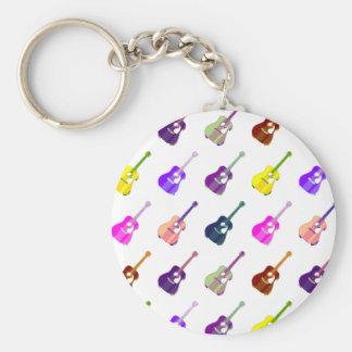 Guitar Player Acoustic Guitars Pop Art Key Chains