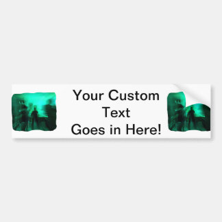 Guitar Player and Dancers Zoomed Aqua Bumper Sticker