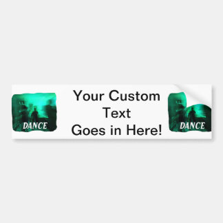 Guitar Player and Dancers Zoomed Aqua DANCE Bumper Sticker