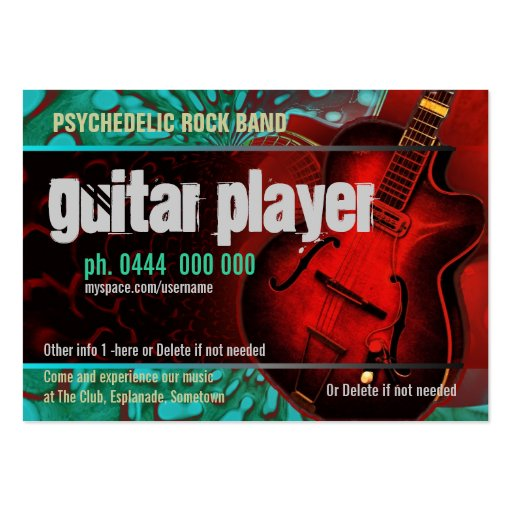 Guitar player band business card zazzle for Band business cards