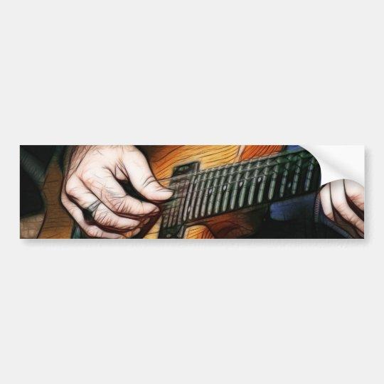 Guitar player bumper sticker