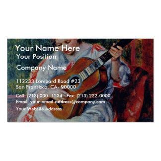Guitar Player By Pierre-Auguste Renoir Double-Sided Standard Business Cards (Pack Of 100)
