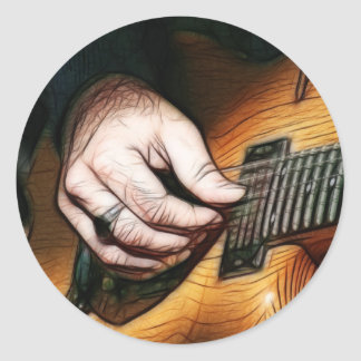 Guitar player classic round sticker