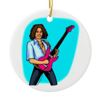 Guitar player, dark skinned, playing electric ornament
