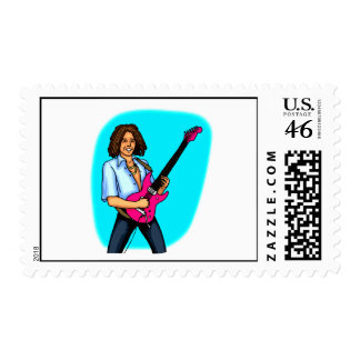Guitar player dark skinned playing electric postage stamp
