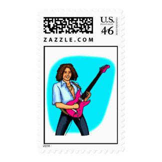 Guitar player dark skinned playing electric stamp