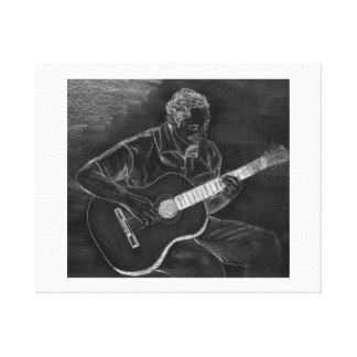 Guitar player drawing, white on black version canvas print