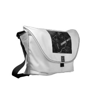 Guitar player drawing, white on black version courier bag