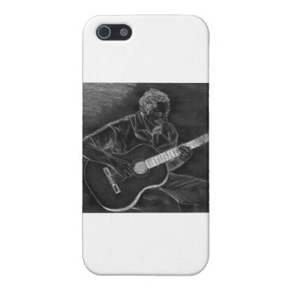 Guitar player drawing, white on black version iPhone SE/5/5s cover
