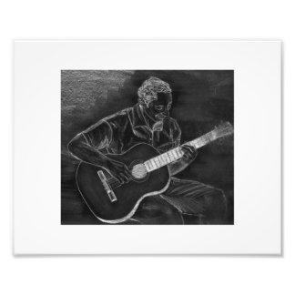 Guitar player drawing, white on black version photo print