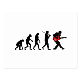 Guitar player evolution postcard