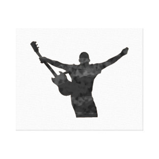 guitar player hands up faded shadow patchy canvas print