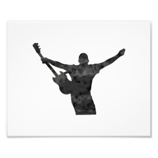 guitar player hands up faded shadow patchy photo