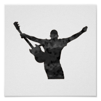 guitar player hands up faded shadow patchy print