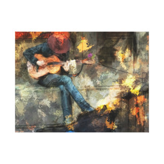 Guitar Player in Cowboy Hat Canvas Print