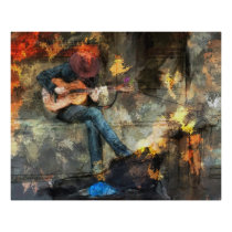 Guitar Player in Cowboy Hat Poster