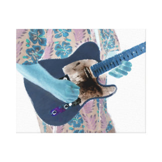 guitar player invert colors neat musician design gallery wrapped canvas