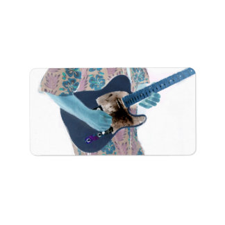 guitar player invert colors neat musician design personalized address labels