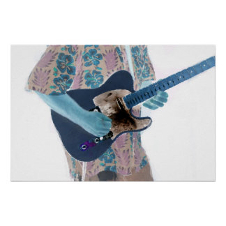 guitar player invert colors neat musician design poster