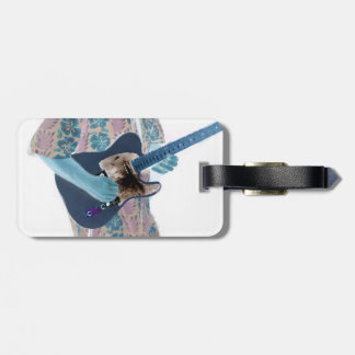 guitar player invert colors neat musician design tag for luggage