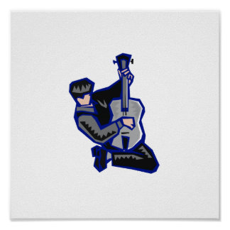guitar player kneeling abstract blue grey.png print