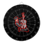 guitar player kneeling abstract red.png dart board