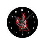 guitar player kneeling abstract red.png wallclocks