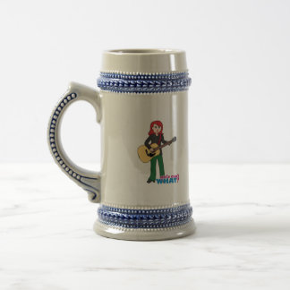Guitar Player Light/Red Beer Stein