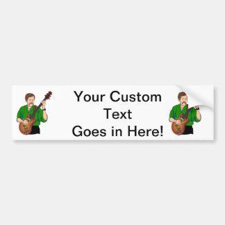 guitar player male semi hollow green shirt.png car bumper sticker