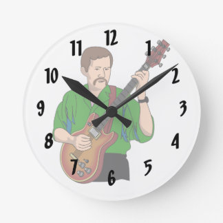 guitar player male semi hollow green shirt.png round wall clocks