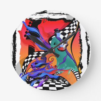 Guitar Player Musician Colorful Pop Art Style Round Clock