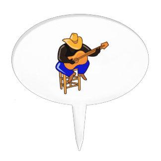 guitar player on stool head down dark skin.png cake topper