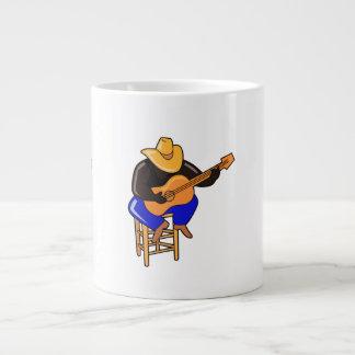 guitar player on stool head down dark skin.png giant coffee mug