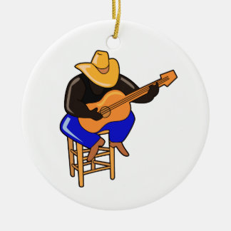 guitar player on stool head down dark skin.png Double-Sided ceramic round christmas ornament