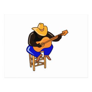 guitar player on stool head down dark skin.png postcard