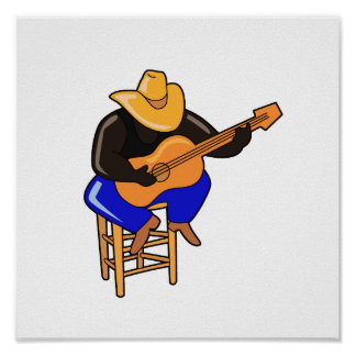 guitar player on stool head down dark skin.png poster