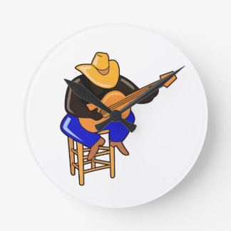 guitar player on stool head down dark skin.png round clock