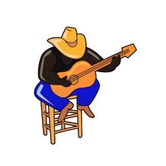 guitar player on stool head down dark skin.png statuette