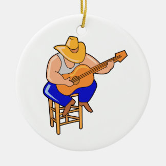 guitar player on stool head down graphic.png Double-Sided ceramic round christmas ornament