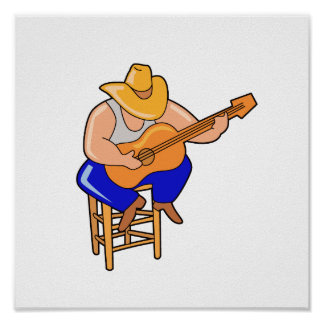 guitar player on stool head down graphic.png poster